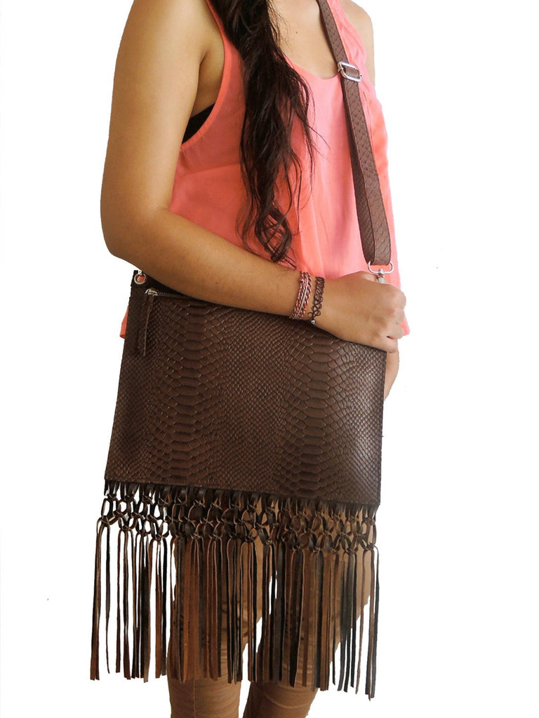 BROWN LEATHER BAG in Snake Embossed Leather. Cross Body Bag