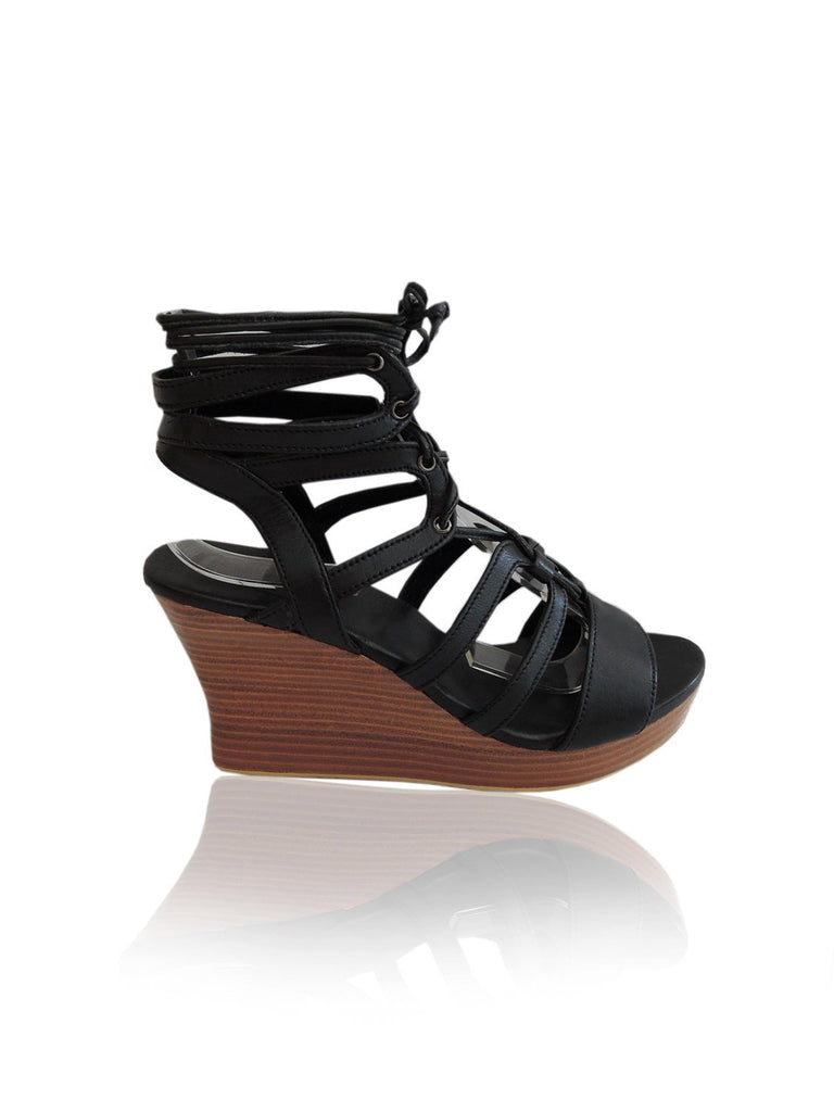 ROXANNE BLACK PLATFORM Sandals in Genuine Leather Lace Ups. Easy Slip On Shoes