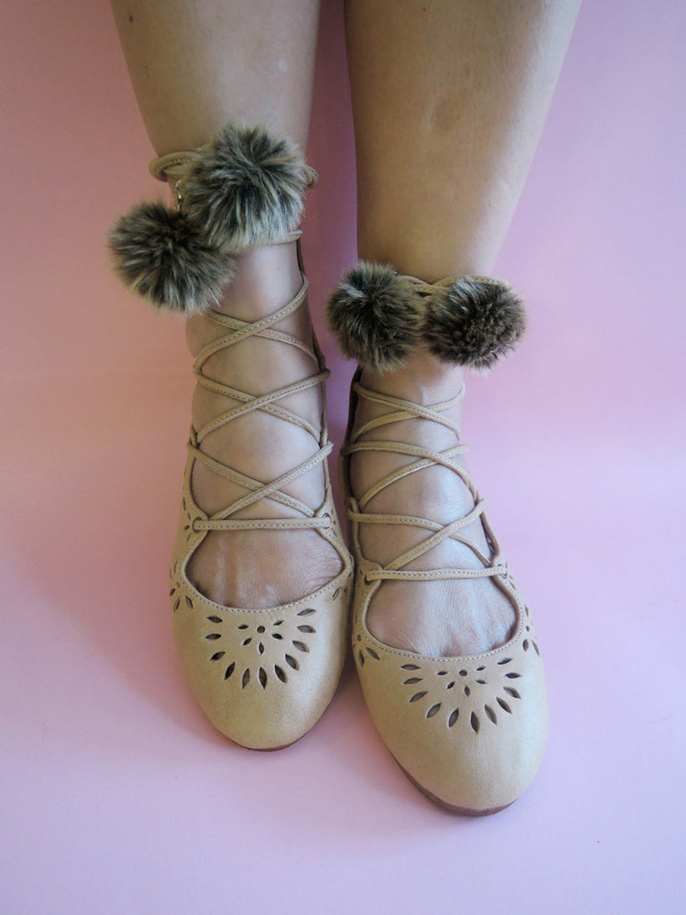 KATHY BALLET SHOES Tan Sandals. Ballet Flats w/ Ribbon Lace up Straps. Hand Tooled Cut Work