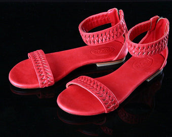 FLATS LEATHER SHOES for Women with Hand Woven Strap. Annabel Handmade