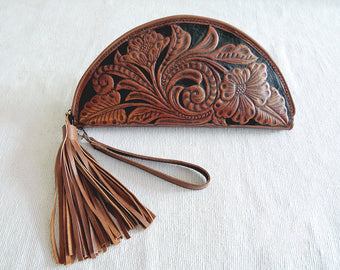 HAND TOOLED LEATHER Purse in Dark Brown Paisley Design Celestial