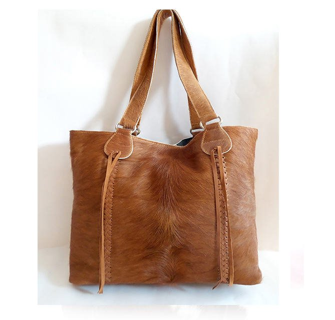 DARK TAN HIDE Bag / Overnight Bag in Calf Hair. Steven Leather Tote Bag
