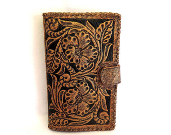 LEATHER WALLET HAND TOOLED Clutch Vegetable Tanned / Travel Antique Wallet
