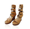 PLATFORM HEELS LEATHER Shoes For Women. Gladiator Sandals In Tan, Fits all