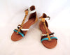 TURQUOISE BLUE LEATHER Shoes Snakeskin w/ Pleat. Handmade/woven Sandals