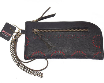 WRISTLET WALLET LEATHER. Clutch Pouch in Black/Red Lining. Hand Crafted Tooled Floral Design