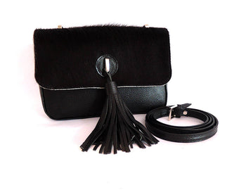 COWHIDE BAG in Black Hide Hair. Black Leather Bag