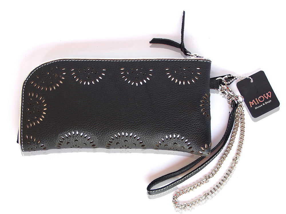 WOMENS WALLET LEATHER in Black with Zipper. Silver Lining / Handmade Hand Tooled Florals. Genuine Cow Leather. Available in 10 Colors.