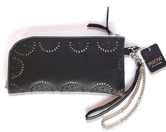 WOMENS WALLET LEATHER in Black w/ Silver Lining / Handmade Hand Tooled Florals