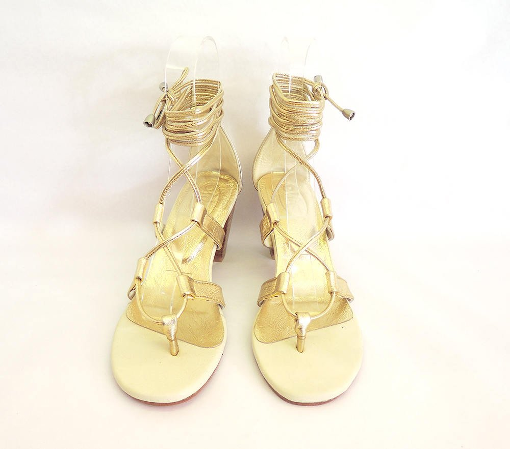 METALLIC GOLD/SILVER Sandals w/ Block Heel. Womens Lace Up Resort Shoes