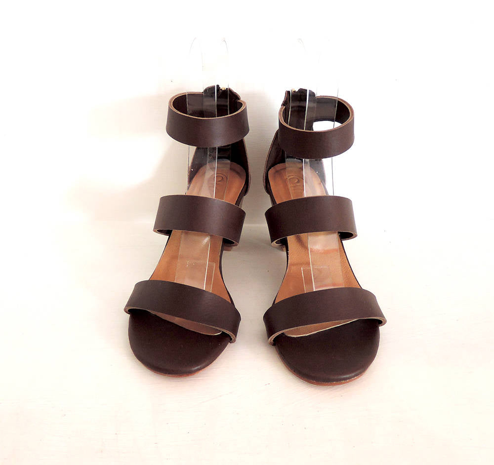 BROWN LEATHER SANDALS with Block Heel w/ Minimalist Clean Lines
