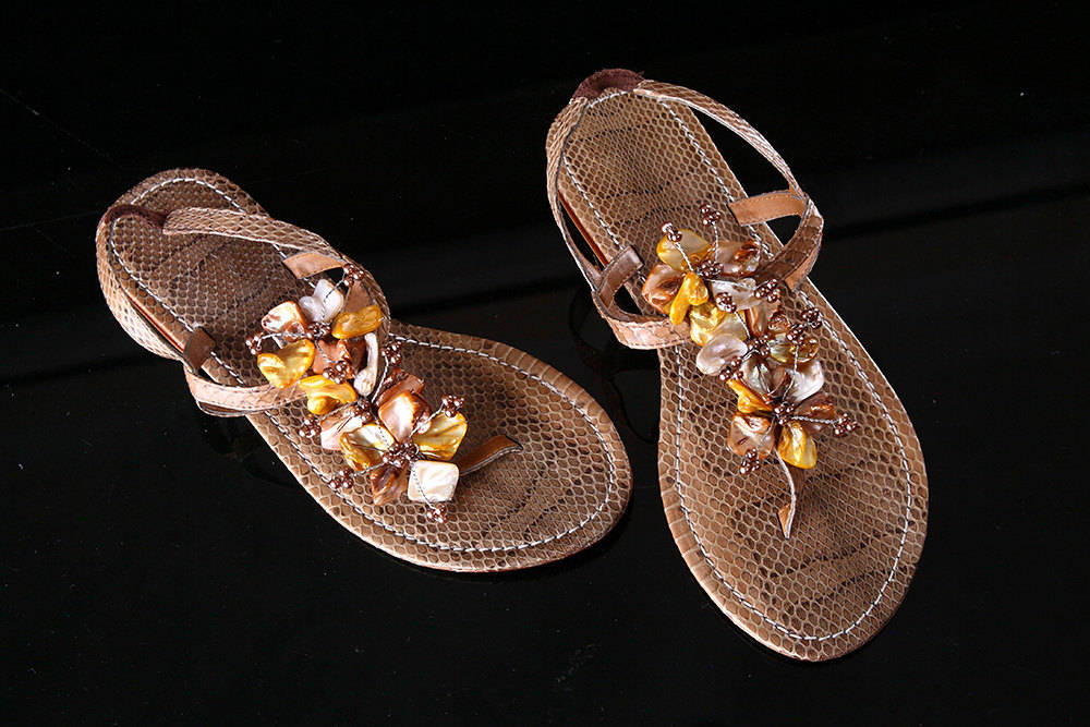 SNAKESKIN BROWN Sandals. T Strap Shoes for Women w Golden Sea Shells Beaded Flowers