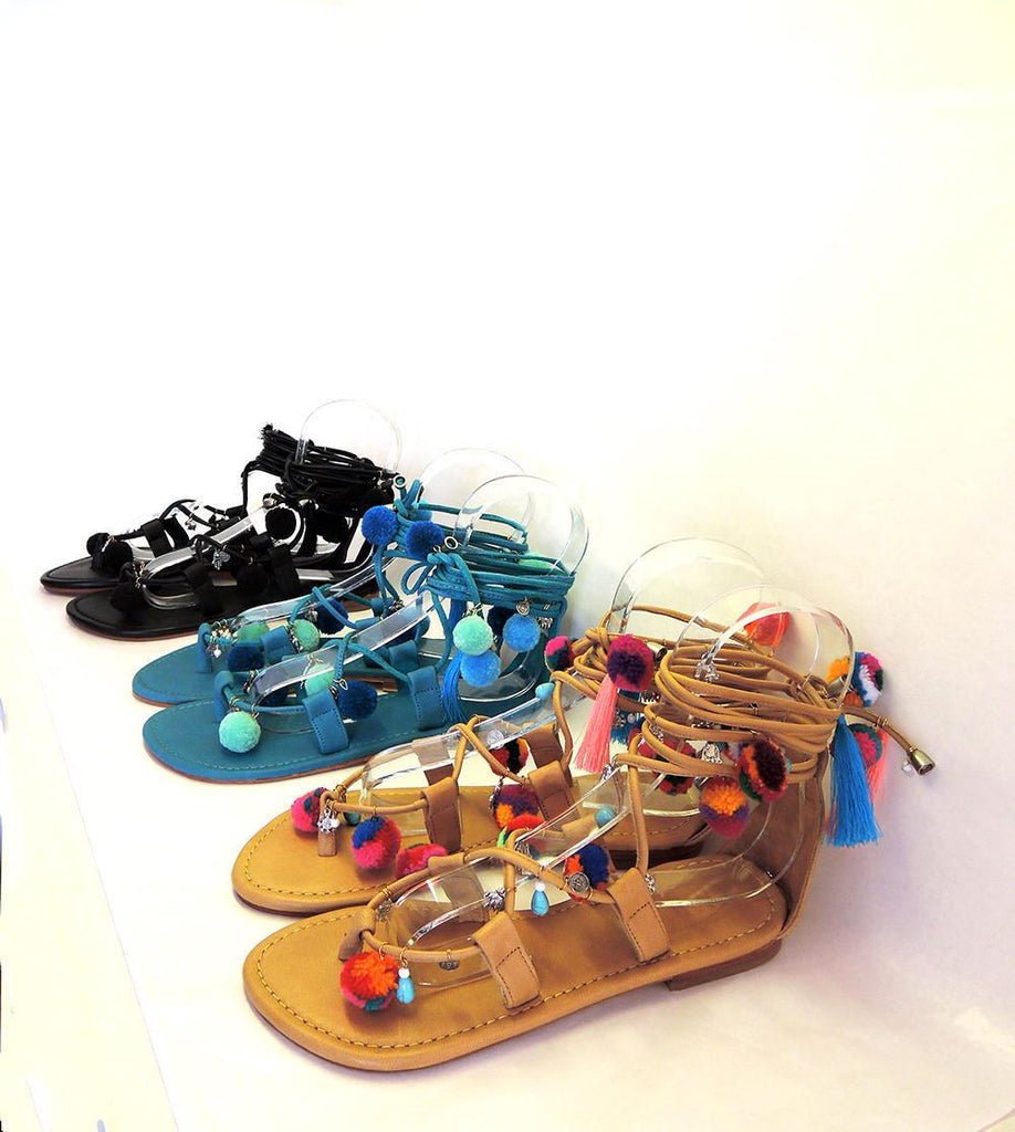 POMPOM SANDALS in TEAL Blue & Mint / Lace Up Sandals For Women Multi-colour