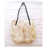 CREAM TOTE BAG in Gorgeous Calf Hair / Shoulder Bag in Cow Hide Hair
