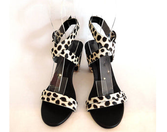 BLACK WHITE SANDALS in Cowhide Hair Leopard. Strappy Sandals. Handmade