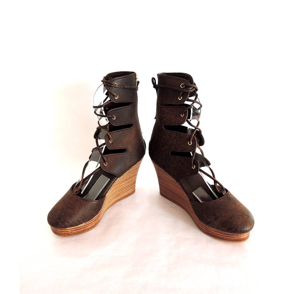 BROWN LEATHER SHOES in Platform Heels Lace up Hand Crafted