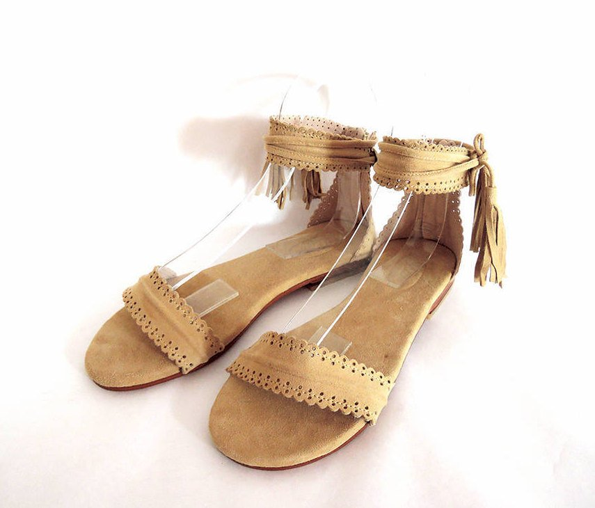 SUEDE SANDALS Hand Tooled Suede Scallop Trim & Leather Tassels.