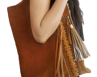 COW HIDE BAG Leather in Dark Tan Calf Hair