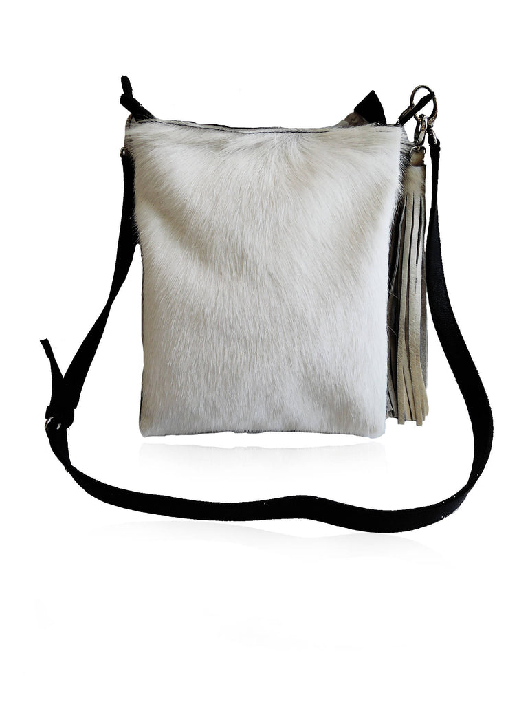 COWHIDE CROSSBODY BAG White Calf Hair Leather Tote Hand Weave Trim.