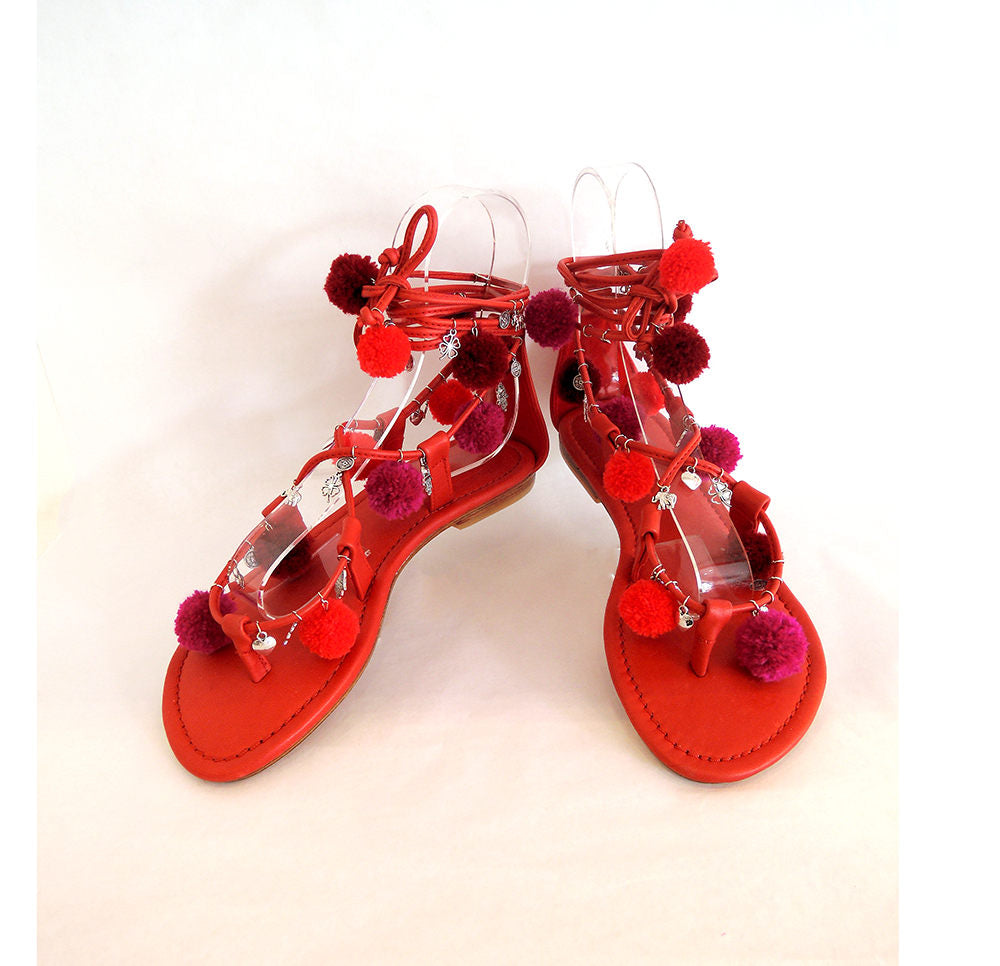 0522c148 ... POMPOM SANDALS in RED / Lace Up Sandals For Women / Gladiator Sandals  Multi-colour ...