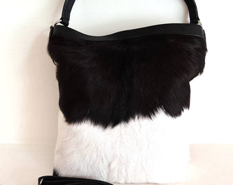 LARGE LEATHER TOTE Bag in Furry Cow Hide in Black White Hair on Hide. Dorothy