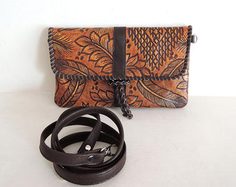 ETSYONSALE. CLUTCH BAG Handtooled In Beautiful Tribal & Feather Design