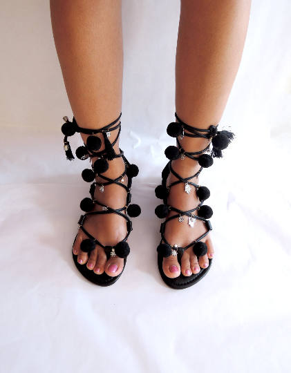 POM POM SHOES Leather Sandals For Women Sandals in All Black Pom Pom Sandals Custom Order