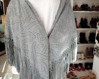 GRAY LEATHER SCARF Shawl w/ HandTooled Autumn Fall Leaf Design.