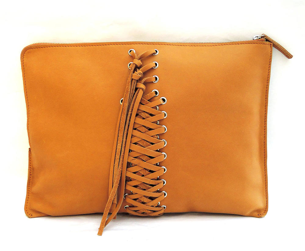 WOMENS LEATHER MESSENGER LAPTOP Bag w/ Hand Weave Tassels in Tan