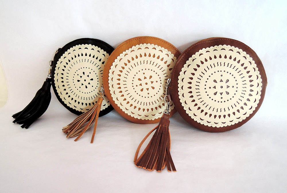 ROUND LEATHER PURSE, Circular Leather Pouch Wristlet Hand Tooled