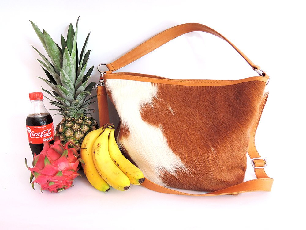 COWHIDE TOTE BAG for Women / Tan White Calf Hair Shoulder Bag