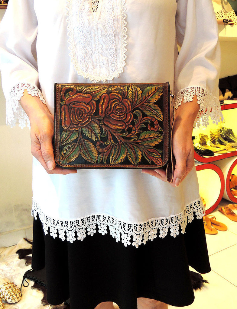 TOOLED LEATHER PURSES for Women. Hand Carved/Painted Rose Travel  Wallet, Nashville. Wallet Zipper