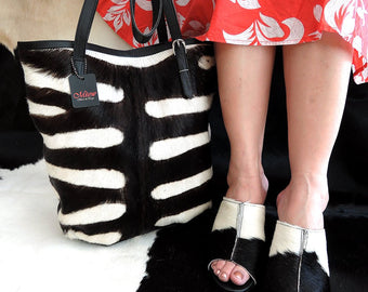 COWHIDE HAIR TOTE Bag in Zebra Cow Hide Hair