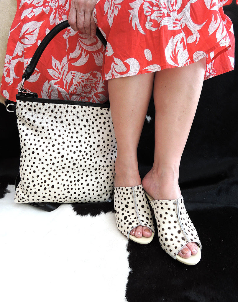 COWHIDE HAIR SHOES in White Leopard / Calf Hair Slip On Shoes