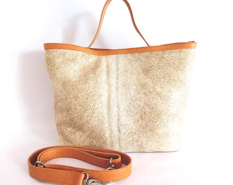 COWHIDE BAG Leather in Cream Calf Hair Tote Bag