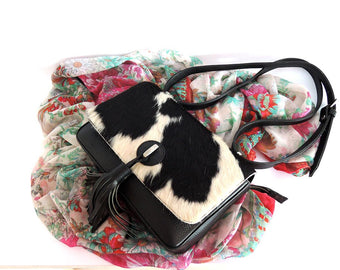 Black and White Cowhide Bags w/ Leather Tassel.