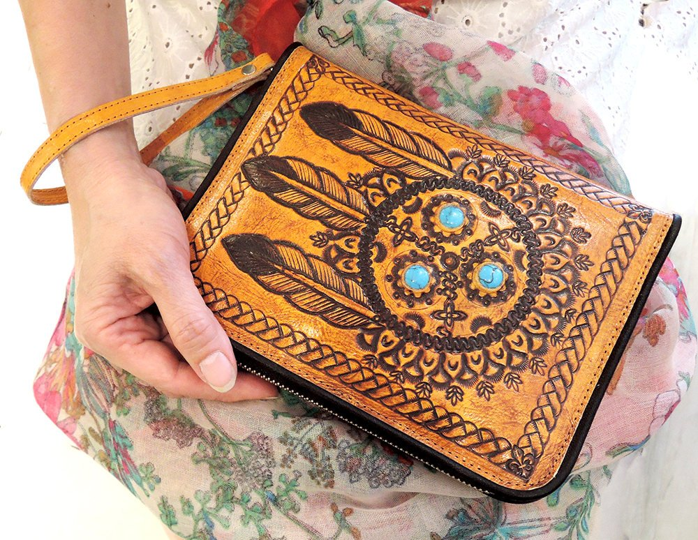 TRIBAL HANDTOOLED LEATHER Wallet / Clutch w/ Turquoise Stone / Multiple Card Slots. Wallet Zipper