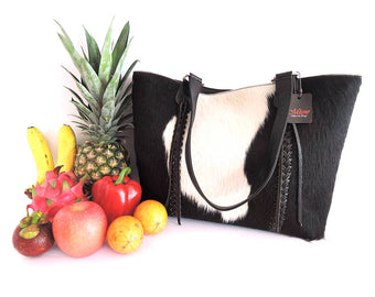 COWHIDE BAG in Black White Hair on Hide. Large Weekend Tote Bag