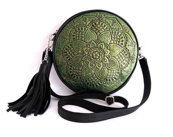 HANDTOOLED ROUND LEATHER Bag in Vintage Emerald Green