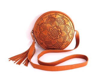 ROUND LEATHER BAG in Hand Tooled Antique Vintage Gold Carved CrossBody Purse