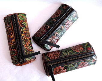 LEATHER ACCESSORY CASE Hand Painted Acrylic on Vegetable Tanned Leather