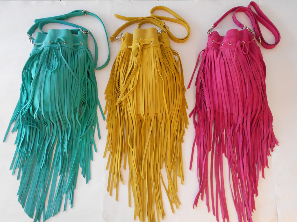 FRINGE BAG LEATHER / Cross Body Bag / Sling Bag in Soft Cow Suede Leather