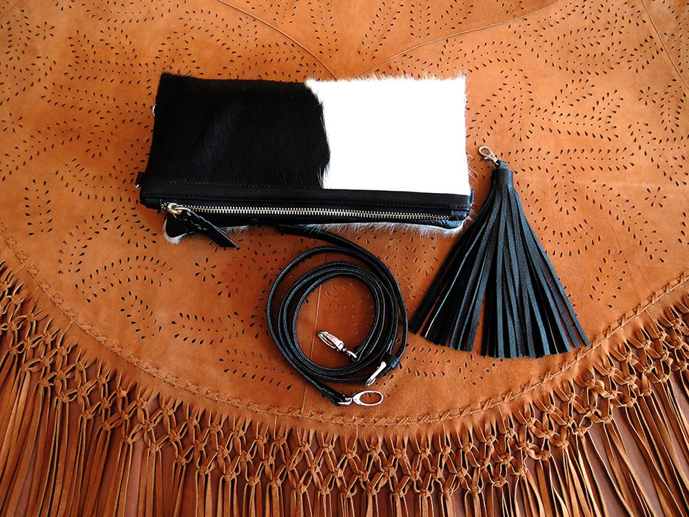 PURSE WITH TASSEL in Black and White / Hair on CowHide Handbags / Purse with Tassel