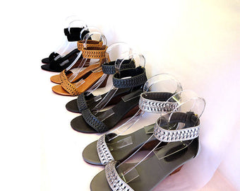 LEATHER SANDALS / Wedge in Genuine Leather. Hand Weave Pleated Shoes