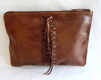 CLUTCH LEATHER BAG Women w/ Hand Weave Tassels in Brown Leather Messenger Bag