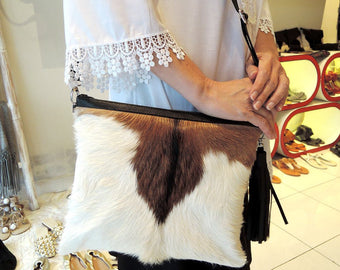 BROWN WHITE CALF Hair Leather Clutch / Small Crossbody Bag