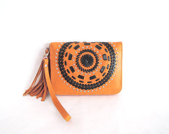 HANDCRAFTED LEATHER WALLET, Mandala Genuine Tan Leather Purse
