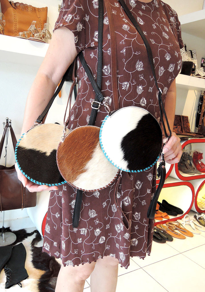ROUND LEATHER Purse / Circle Pouch Bag in Cowhide Hair w/ Long Straps