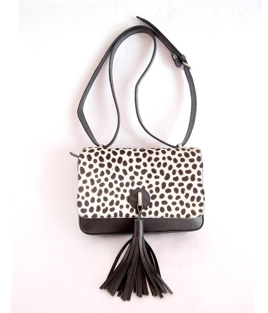 LEOPARD COWHIDE BAG in Black and White Calf Hair Clutch w/ Thick Tassels