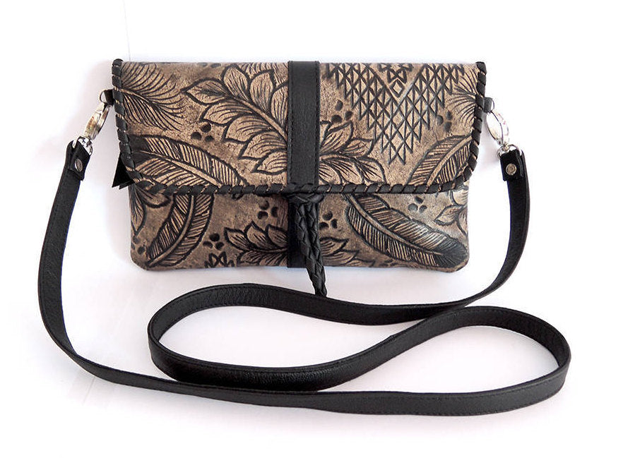LEATHER CLUTCH BAG Hand Tooled Tribal & Feather Design, Magnetic